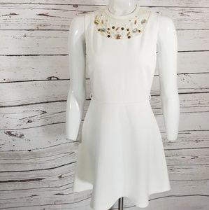 WHITE JEWELED Fit flare DRESS FOREVER 21 small